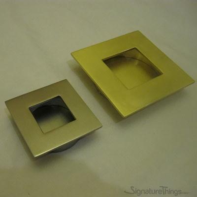 "Brass Square Flush Door Pulls - 2""& 3"" OD"