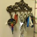 Antique Brass Victorian Hook Rack - 6 Hooks