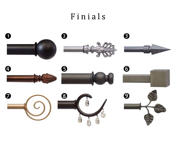 Iron Curtain Rod Finials