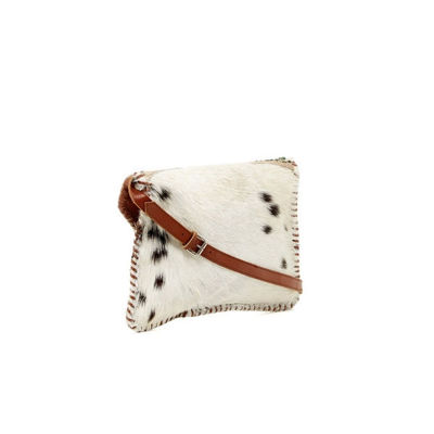 SignatureThings.com Brass Hardware Bull Head Hair on Leather Clutch