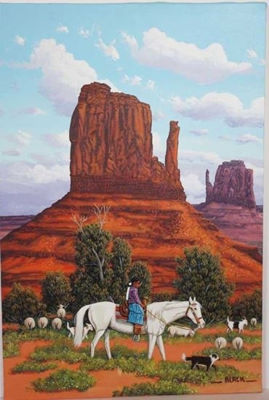 Little Sheep Herder - Navajo Crafts | Native American Arts | Native American Crafts For Sale | Navajo Pottery Ornaments | Native American Pottery | Native American Paintings | Navajo Sand Paintings | Authentic Native American Products | SignatureThings.com