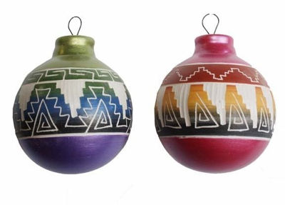 Brightly Painted Etchware Pottery Ornament