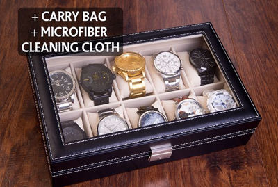 SignatureThings.com Brass Hardware Personalized Leatherette Watch Case - Men's Valets & Watch Box