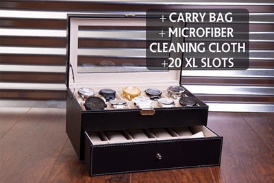 Black Leatherette Watch Box - 20 Slot,  Extra Large, Personalized Watch Case, Custom Engraved Watch Organizer