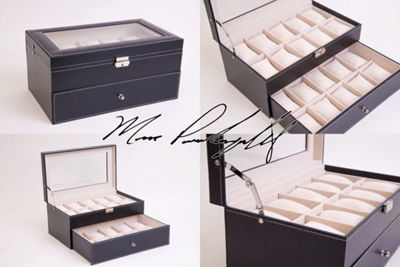 EXTRA LARGE 20 Piece Personalized Watch Box - Leatherette Watch Case - Personalized Gift Box | Personalized gift Ideas | Engraved Gift Boxes | Christmas Gift Ideas | Holiday Gifts Ideas | Personalized Wooden Gift Box | Keepsake Gifts Box | Memory Box | Personalized Watch Box | Watch Box | Sunglass Storage Case | SignatureThings.com