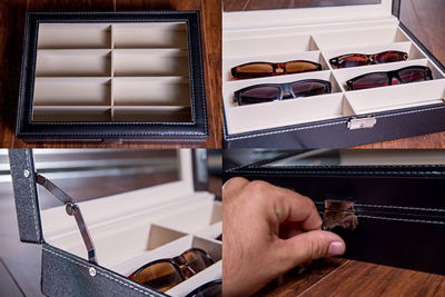 Black Leatherette Sunglasses Storage Cases/ 8 Slots Sunglass Eyewear Storage Case. Custom Engraved Personalized Gifts Box