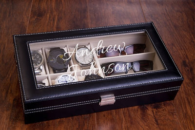 Watch and Sunglass Display Case, Engraved Personalized Watch Box - Personalized Gift Box | Personalized gift Ideas | Engraved Gift Boxes | Christmas Gift Ideas | Holiday Gifts Ideas | Personalized Wooden Gift Box | Keepsake Gifts Box | Memory Box | Personalized Watch Box | Watch Box | Sunglass Storage Case | SignatureThings.com