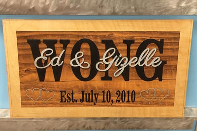 SignatureThings.com Brass Hardware Family Established Sign - Rustic Wood, Last Name Wall Decor