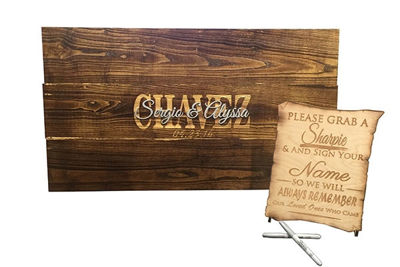SignatureThings.com Brass Hardware Rustic Wood Guest Book Sign Board - Engraved Wedding Guest Book