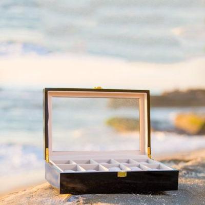 Luxury 10 Slot Black Glossy Watch Case