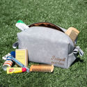 SignatureThings.com Brass Hardware Leatherette Toiletry Bag for Men - Women Cosmetics Bags, Dopp Kit