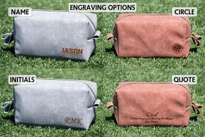 SignatureThings.com Brass Hardware Leatherette Toiletry Bag for Men - Women Cosmetics Bags, Dopp Kit