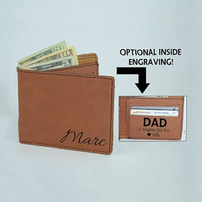 SignatureThings.com Brass Hardware Personalized leatherette Wallets For Men - Engraved Bifold Wallets