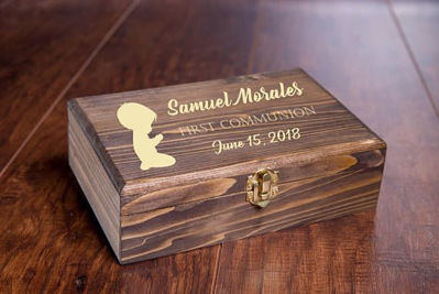 Personalized Baptism Keepsake Box - Custom Wood Baptism, Christening, First Communion, Confirmation Gift Memory Box