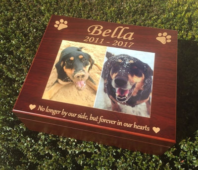 SignatureThings.com Brass Hardware Personalized Dog Toy Box - Wooden Pet Keepsakes Box