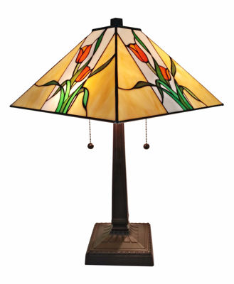 SignatureThings.com Brass Hardware Floral Mission Table Lamp 21 In High Tiffany Style