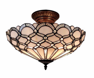 17 In Wide Tiffany Style Ceiling Fixture Lamp - Tiffany Style Ceiling Lamps | Stained Glass Ceiling Lamps | tiffany ceiling lamps | ceiling lights | living room ceiling lights | bedroom ceiling lights lamps | antique tiffany chandelier | Decorative Ceiling Lamps | SignatureThings.com
