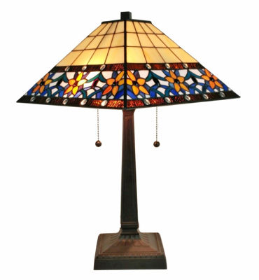 SignatureThings.com Brass Hardware 23 In High Tiffany Style Floral Mission Table Lamp