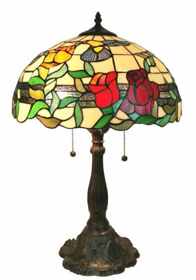 SignatureThings.com Brass Hardware 24 Inches Tall Tiffany Style Floral Table Lamp