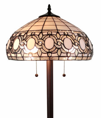 62 In High Tiffany Style Floral White Floor Lamp 62 In High