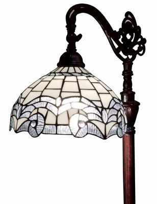 SignatureThings.com Brass Hardware 62-inch Tiffany Style White Reading Floor Lamp
