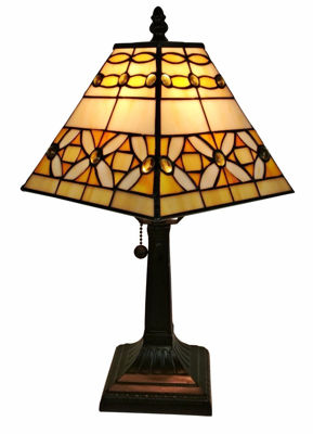 8 Inches Wide Tiffany Style Mission Jeweled Table Lamp