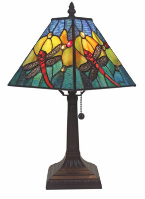 SignatureThings.com Brass Hardware Dragonfly Tiffany Style Table Lamp