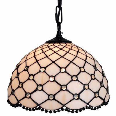 SignatureThings.com Brass Hardware Jewel Tiffany Style Hanging Lamp 12 In