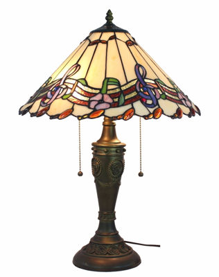 SignatureThings.com Brass Hardware Musical Notes Tiffany Style Table Lamp 24 Inches Tall