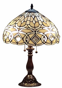 Tiffany Style 21-inch Geometric Table Lamp White - Tiffany Style Table Lamps | Stained Glass Table Lamps | Tiffany Table Lamps | Decorative Table Lamps | tiffany table lamps | Stained Glass Table Lamps | table lamps for living room | Reading Table Lamps | crystal table lamps | tiffany style lamp shades | SignatureThings.com