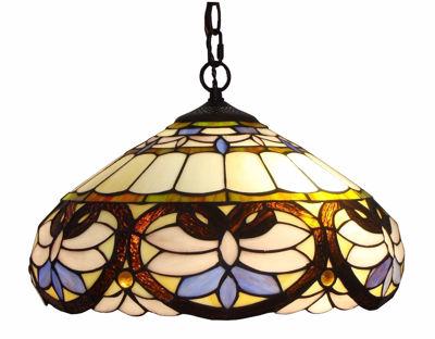 SignatureThings.com Brass Hardware Tiffany Style Baroque Pendant Lamp