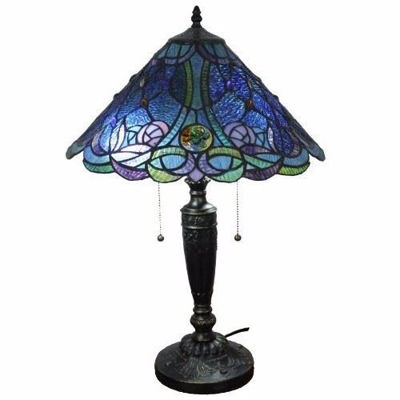 SignatureThings.com Brass Hardware Tiffany Style Blue Table Lamp 24 Inches Tall
