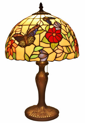 SignatureThings.com Brass Hardware Tiffany Style Butterflies Table Lamp 19 Inches