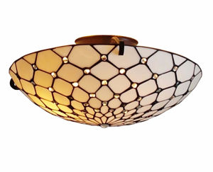 Tiffany Style Ceiling Fixture Lamp 17 In Wide - Tiffany Style Ceiling Lamps | Stained Glass Ceiling Lamps | tiffany ceiling lamps | ceiling lights | living room ceiling lights | bedroom ceiling lights lamps | antique tiffany chandelier | Decorative Ceiling Lamps | SignatureThings.com