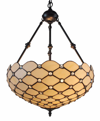 SignatureThings.com Brass Hardware Tiffany Style Ceiling Hanging Pendant Lamp 18-inch 2 Lights, White