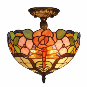 Tiffany Style Ceiling Lamp Fixture 2 Light - Tiffany Style Ceiling Lamps | Stained Glass Ceiling Lamps | tiffany ceiling lamps | ceiling lights | living room ceiling lights | bedroom ceiling lights lamps | antique tiffany chandelier | Decorative Ceiling Lamps | SignatureThings.com