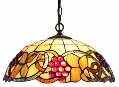SignatureThings.com Brass Hardware Tiffany Style Colorful Hanging Lamp