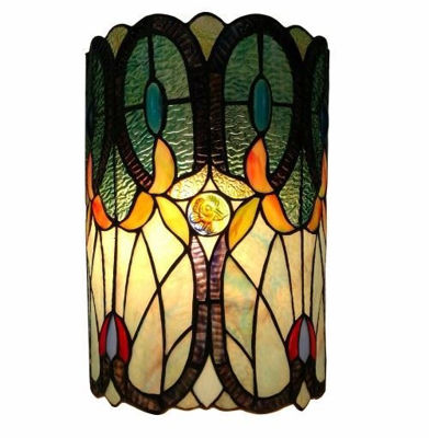 Tiffany Style Double-light Floral Wall Sconce 13.5 In High - Tiffany Style Wall Lamps | Decorative Wall Lamps | Wall Light Fixture | Bedroom Wall Lamps | Modern Wall Lamps | Stained Glass Wall Lamps | Tiffany Wall Lamps | Tiffany Wall Sconce |  Wall Mounted Tiffany Lamps | Wall mounted lights | wall lights living room | bathroom wall sconces | wall mounted reading lights | SignatureThings.com