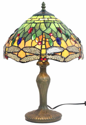 SignatureThings.com Brass Hardware Tiffany Style Dragonfly Design Table Lamp 18 In