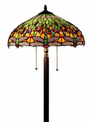 SignatureThings.com Brass Hardware Tiffany Style Dragonfly Floor Lamp 18 Inches Wide