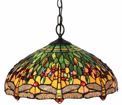 Tiffany Style Dragonfly Hanging Lamp 18 Inches - Tiffany Style Ceiling Lamps | Stained Glass Ceiling Lamps | tiffany ceiling lamps | ceiling lights | living room ceiling lights | bedroom ceiling lights lamps | antique tiffany chandelier | Decorative Ceiling Lamps | SignatureThings.com
