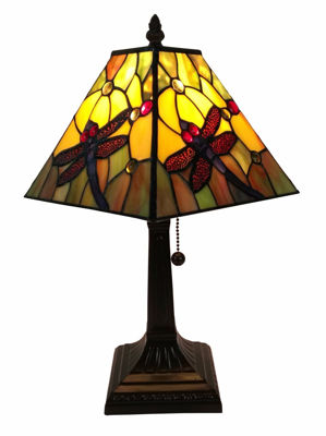 SignatureThings.com Brass Hardware Tiffany Style Dragonfly Table Lamp