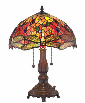 Tiffany Style Dragonfly Table Lamp 2 Light - Tiffany Style Table Lamps | Stained Glass Table Lamps | Tiffany Table Lamps | Decorative Table Lamps | tiffany table lamps | Stained Glass Table Lamps | table lamps for living room | Reading Table Lamps | crystal table lamps | tiffany style lamp shades | SignatureThings.com