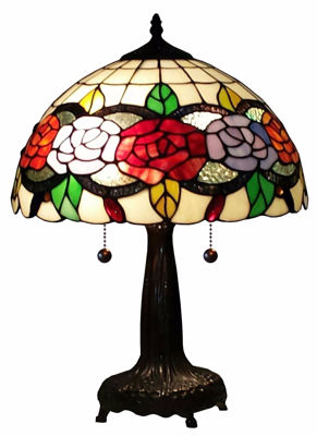 SignatureThings.com Brass Hardware Tiffany Style Floral 20-inch Table Lamp