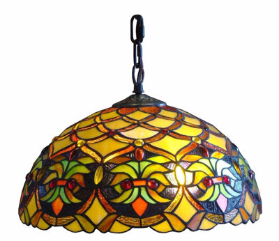 SignatureThings.com Brass Hardware Tiffany Style Floral Ceiling Hanging Lamp 14-inch Wide 2 Light