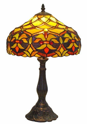 SignatureThings.com Brass Hardware Tiffany Style Floral Design 19-inch Table Lamp