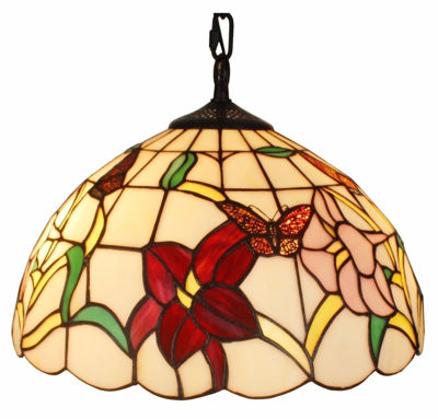 SignatureThings.com Brass Hardware Tiffany Style Floral Hanging Lamp 14 Inches