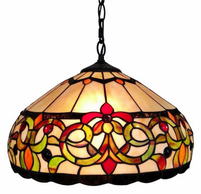 SignatureThings.com Brass Hardware Tiffany Style Floral Hanging Lamp 16 Inches