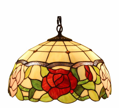 Tiffany Style Floral Hanging Lamp 16 Inches Wide 2 Light - Tiffany Style Ceiling Lamps | Stained Glass Ceiling Lamps | tiffany ceiling lamps | ceiling lights | living room ceiling lights | bedroom ceiling lights lamps | antique tiffany chandelier | Decorative Ceiling Lamps | SignatureThings.com