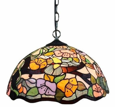 SignatureThings.com Brass Hardware Tiffany Style Floral Hanging Lamp 2 Light 16 In Wide